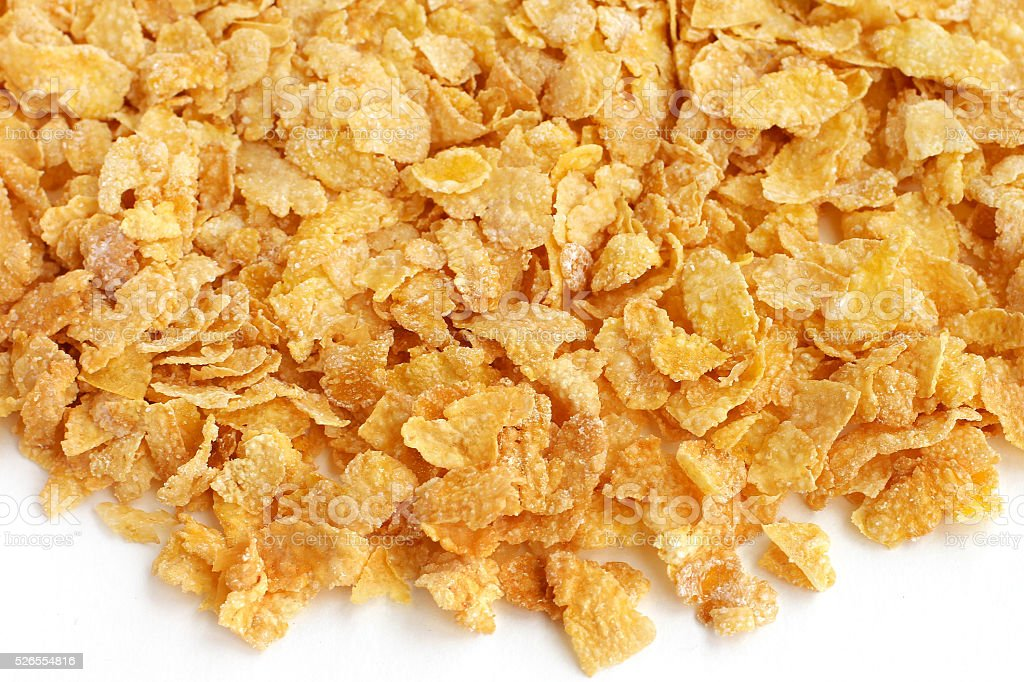Scattered corn flakes stock photo