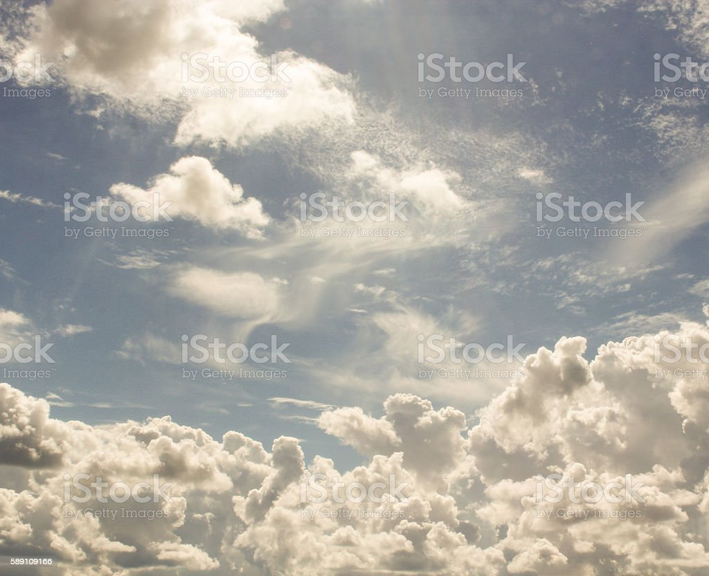 Scattered cumulus clouds. stock photo