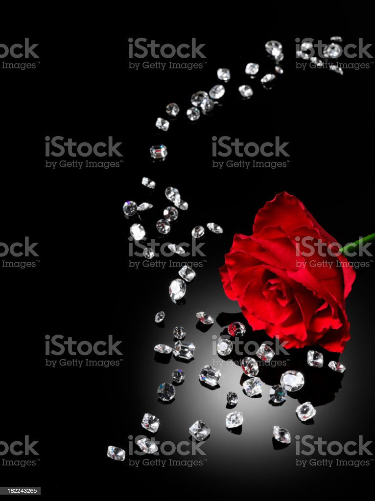 Scattered Diamonds and a Red Rose royalty-free stock photo