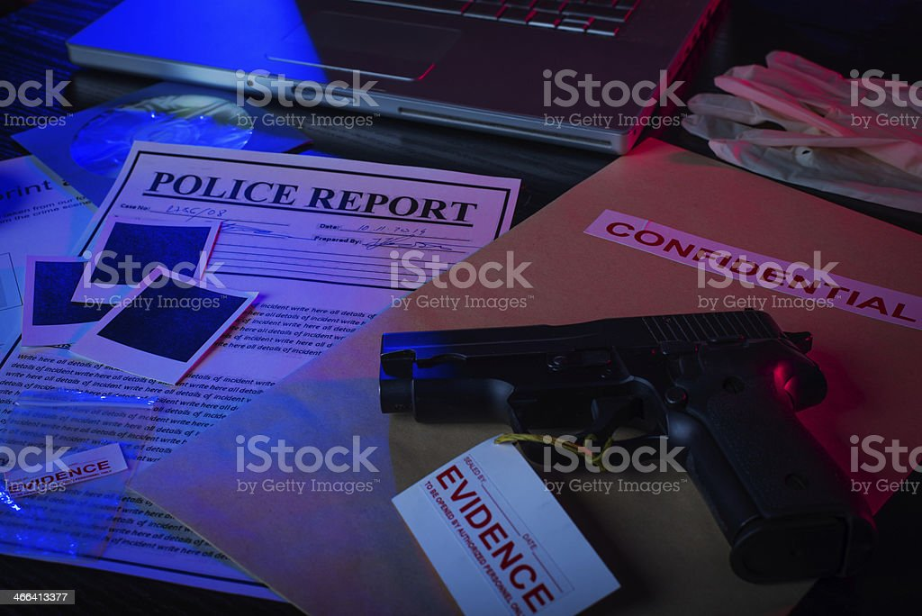 Scattered evidence files stock photo