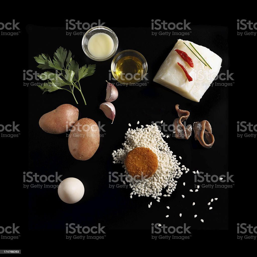 Scattered fresh gourmet ingredients for cooking stock photo