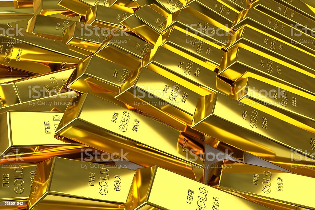 scattered gold bars stock photo