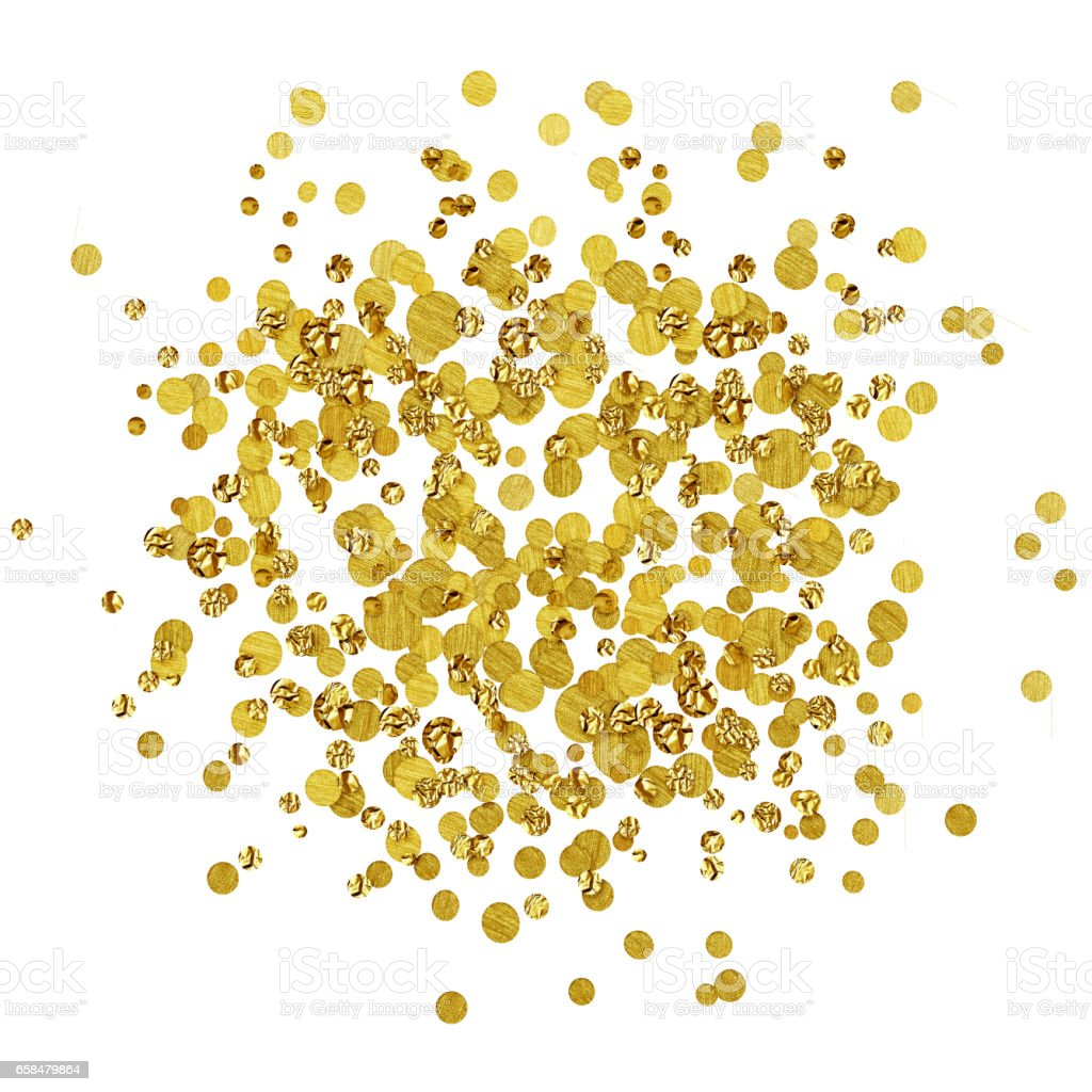 Scattered gold confetti stock photo
