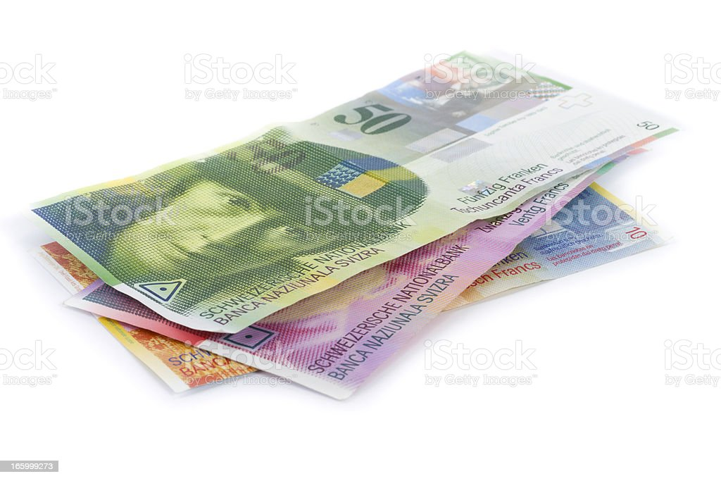 scattered pile of swiss francs banknotes isolated on white stock photo