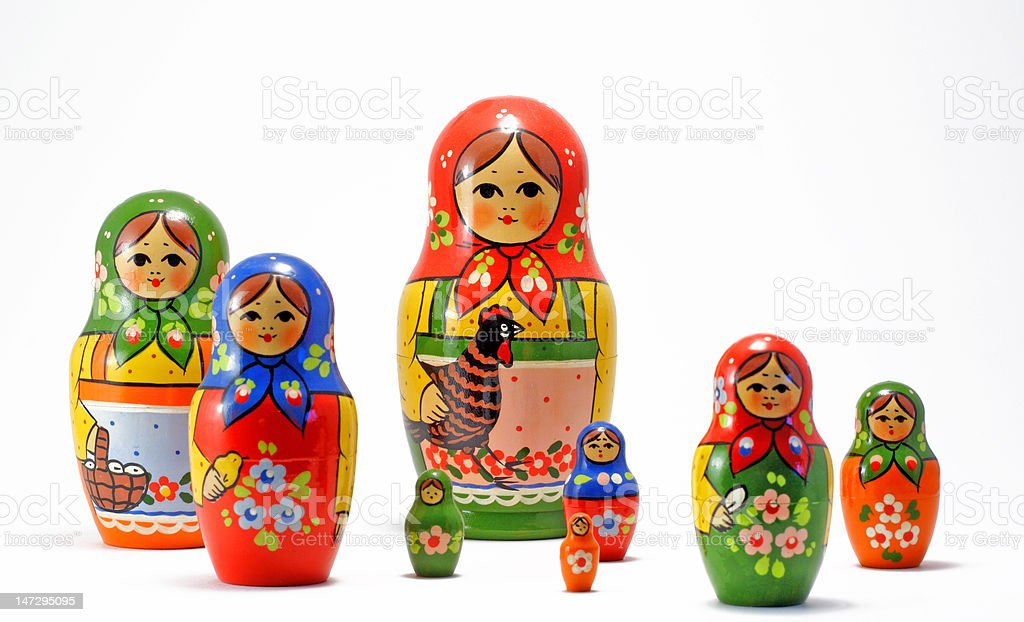 Scattered Russian Nesting Dolls royalty-free stock photo