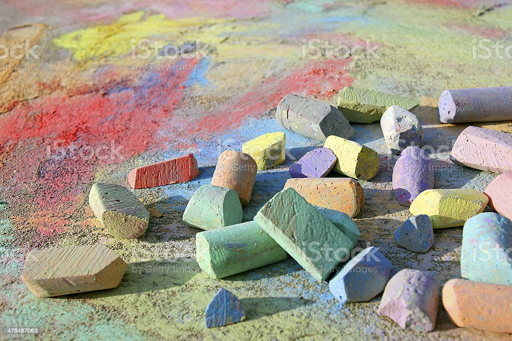 Scattered Sidewalk Chalk stock photo