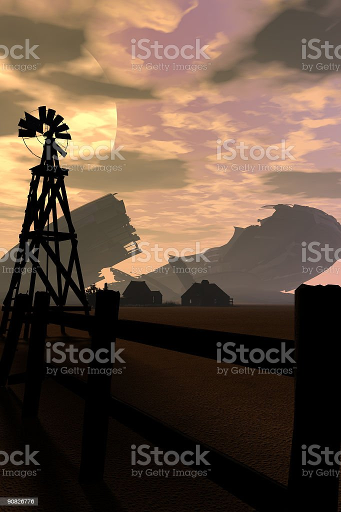 Scene from the old windmill stock photo