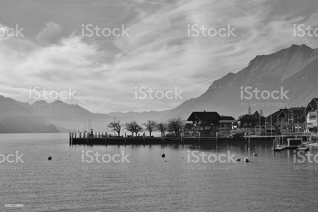 Scene in Brienz, lake Brienzersee and mountains stock photo