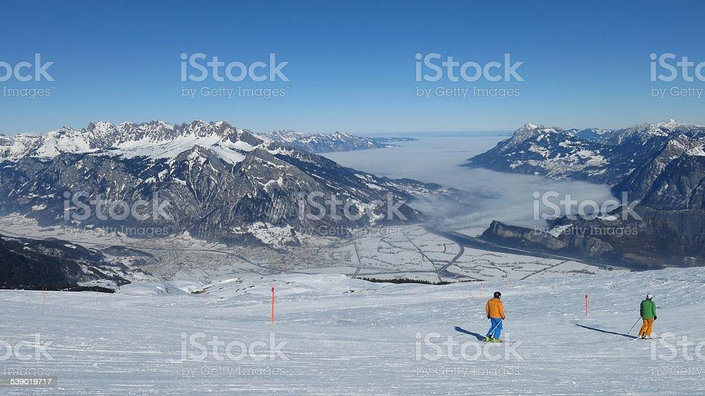 Scene in the ski area Pizol stock photo