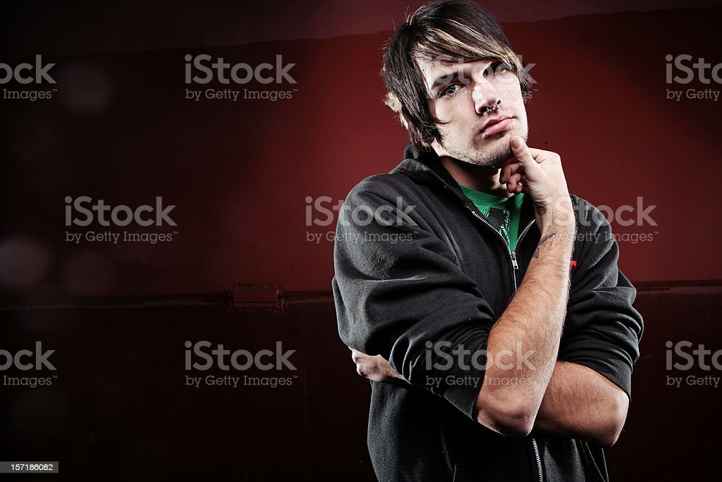 Scene Male Does A 'Thinking' Face. royalty-free stock photo