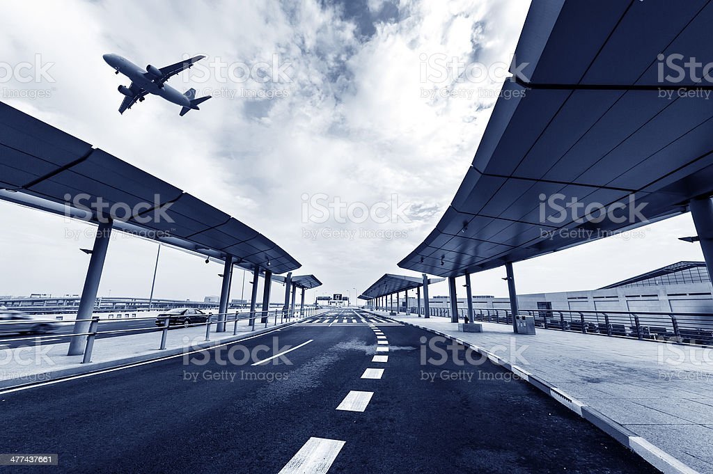 scene of airport building in shanghai china royalty-free stock photo