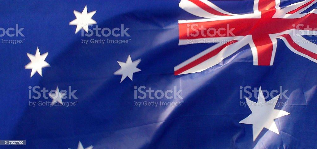 Scene Of  Australian National Flag Waving stock photo