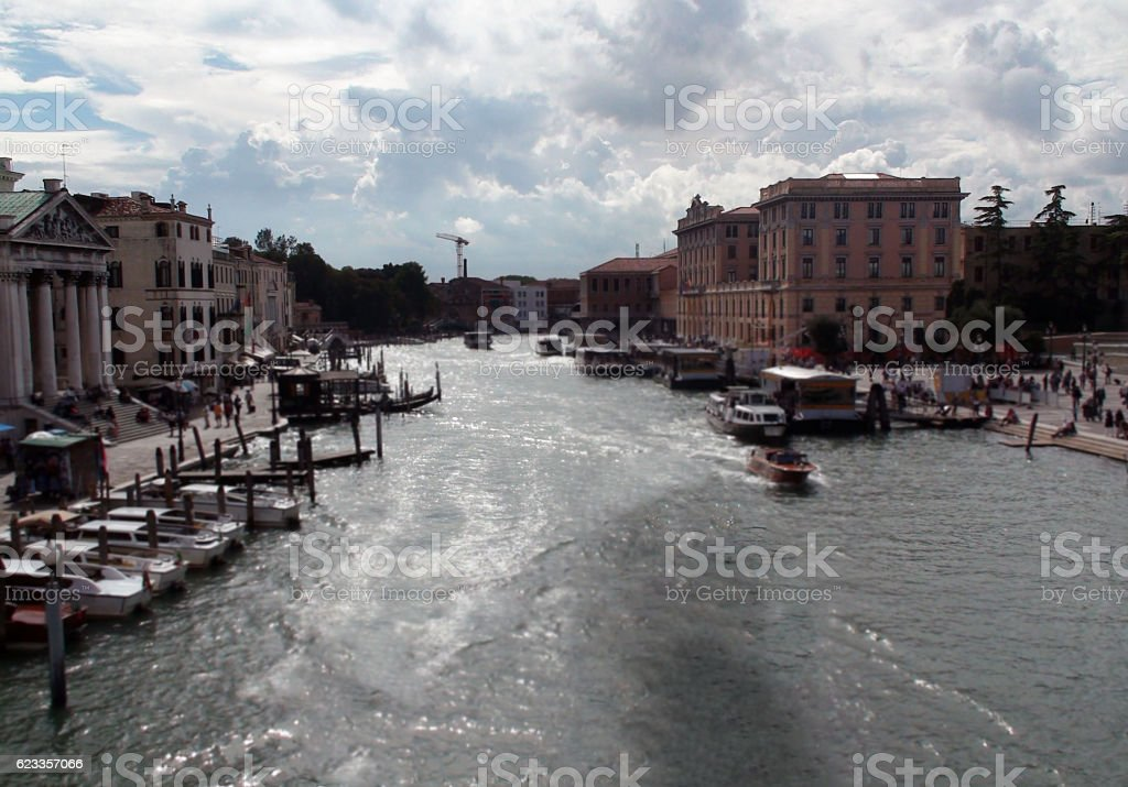 Scene Of Boat On Venice Canal In Republic Of Italy stock photo