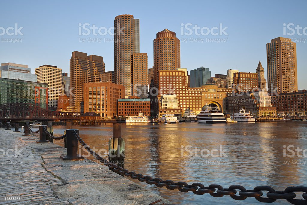 A scene of buildings in Boston and a place for fishing stock photo