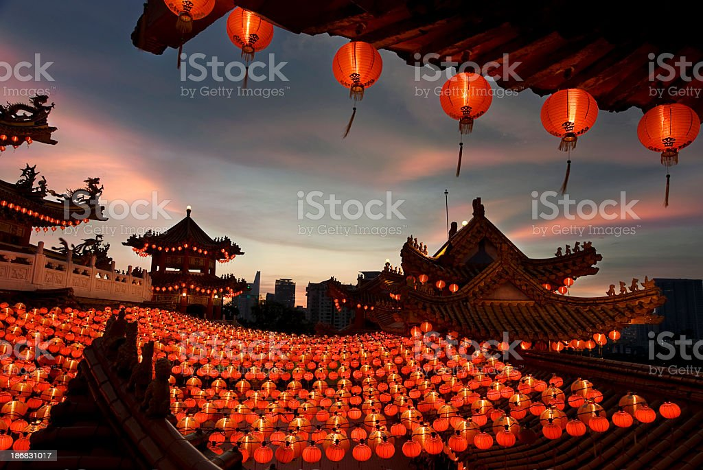 Scene of chinese temple with lanterns stock photo