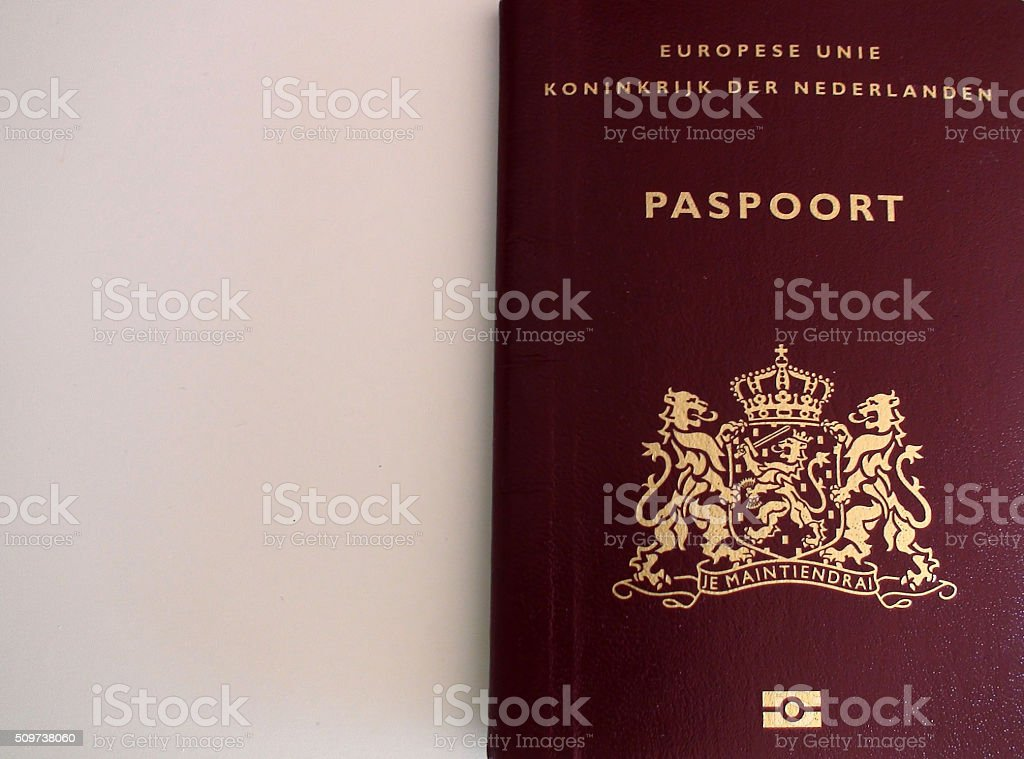 Scene Of Dutch International Passport In Amsterdam.Netherlands.Europe stock photo