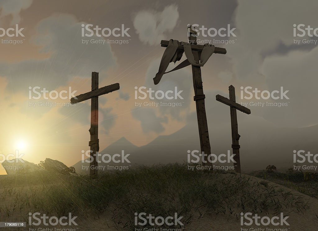 Scene of Jesus Christs' crucifixion on calvary hill. royalty-free stock photo