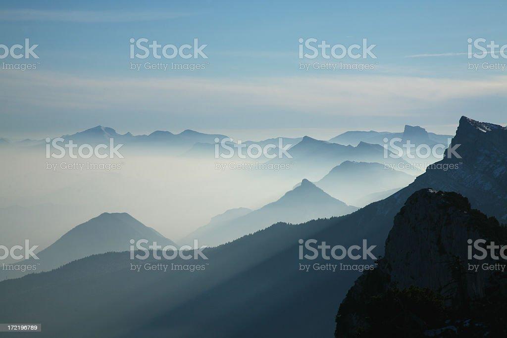 Scene of mountain range with a blue tint stock photo