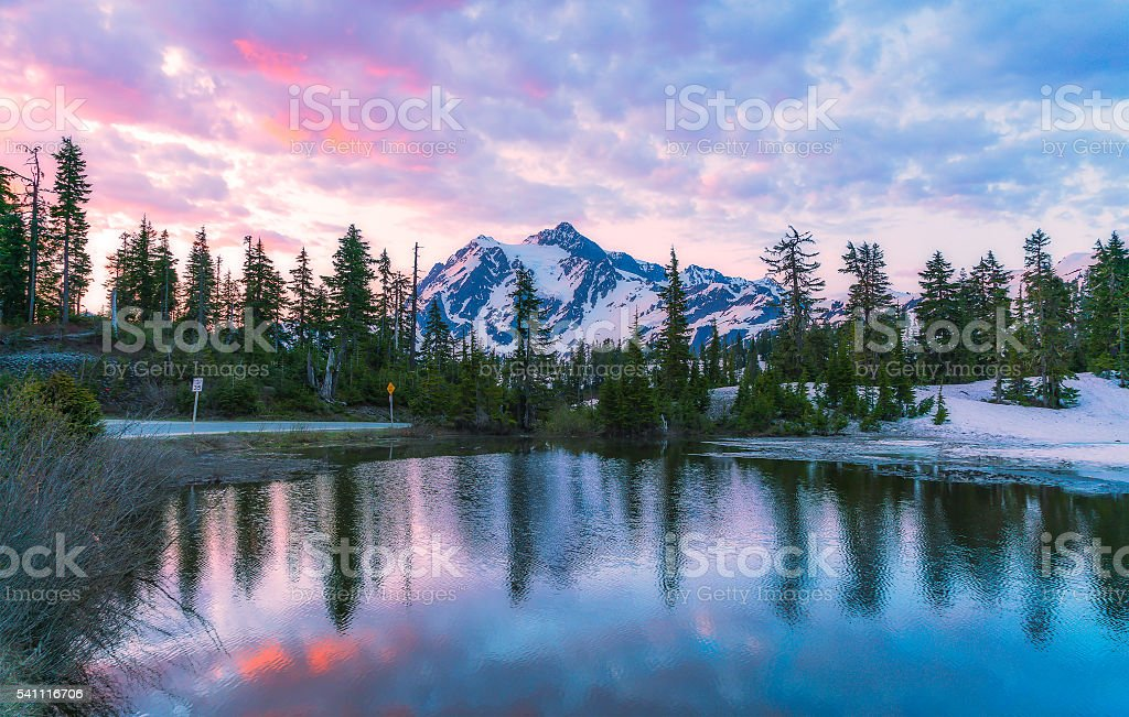 scene of mt. Shucksan with reflection when sunrise. stock photo