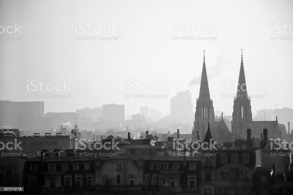 Scene of Paris with Notre Dame Cathedral in the background. stock photo