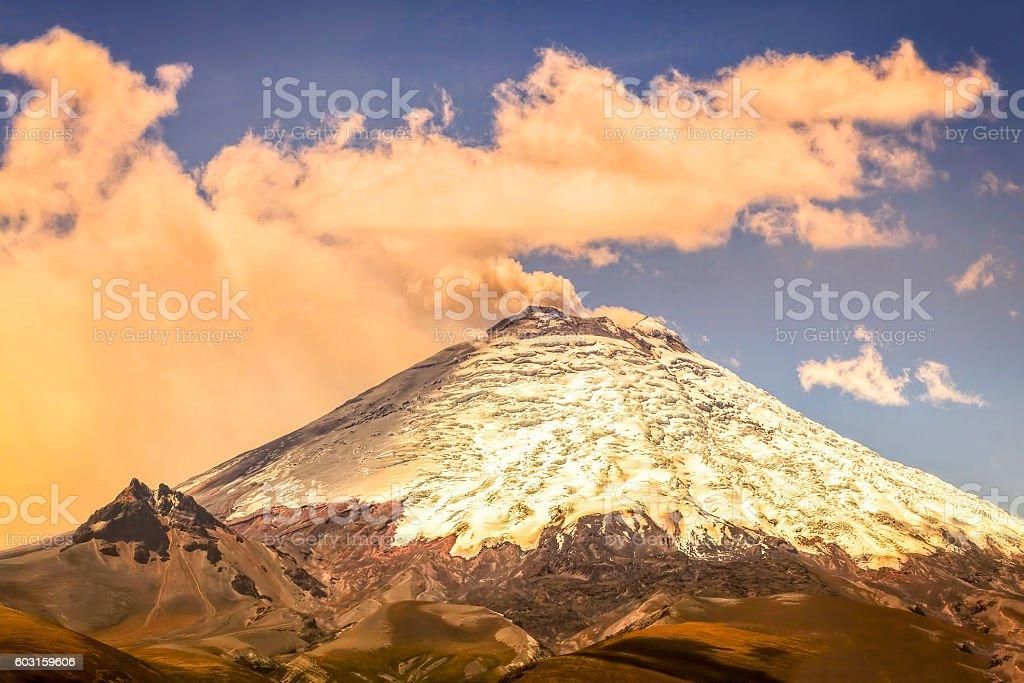 Scene Of Powerful Active Cotopaxi Volcano stock photo