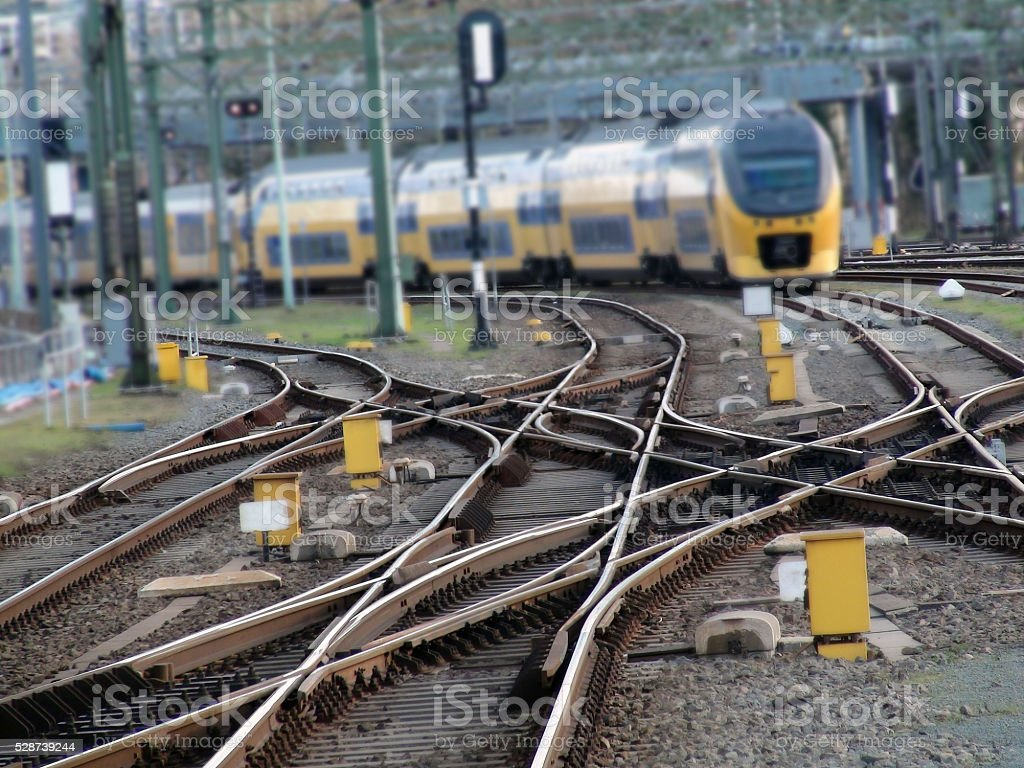 Scene Of Railroad Track And High Speed Train stock photo