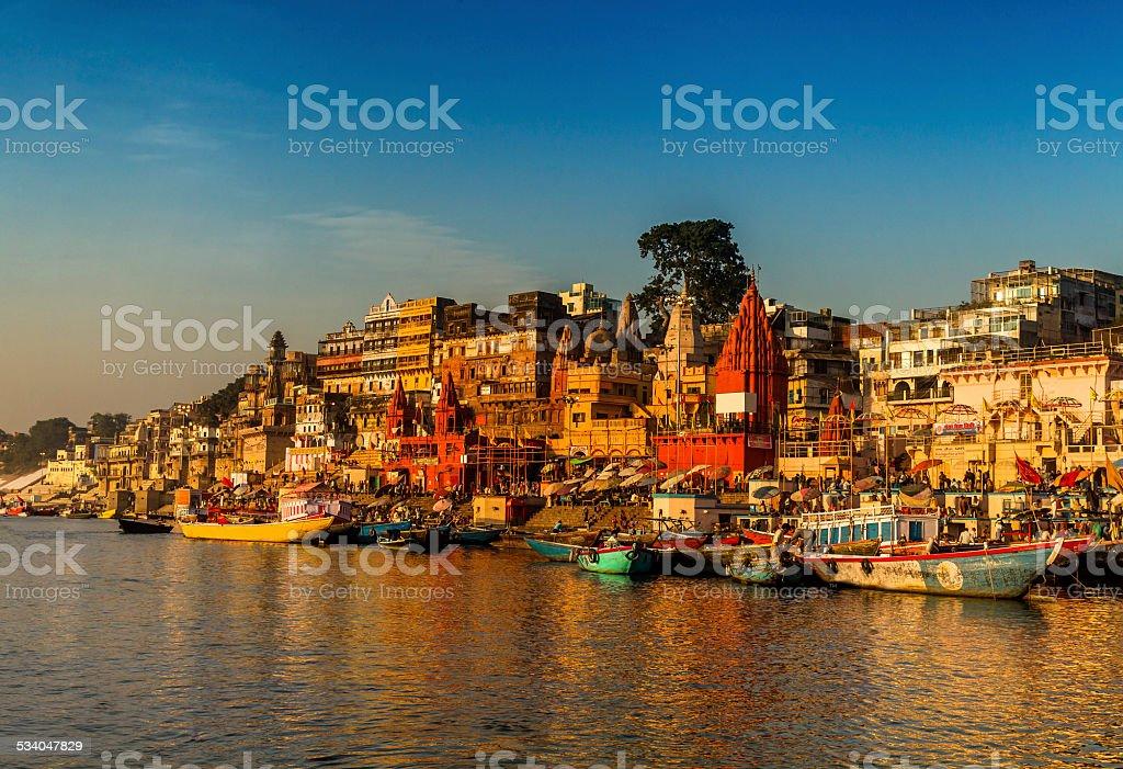 Scene of River Ganges, Varanasi, India. stock photo