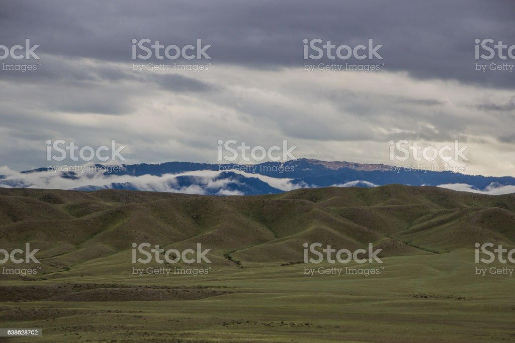 Scene of steppe and mountaints on a background, Kazakhstan stock photo