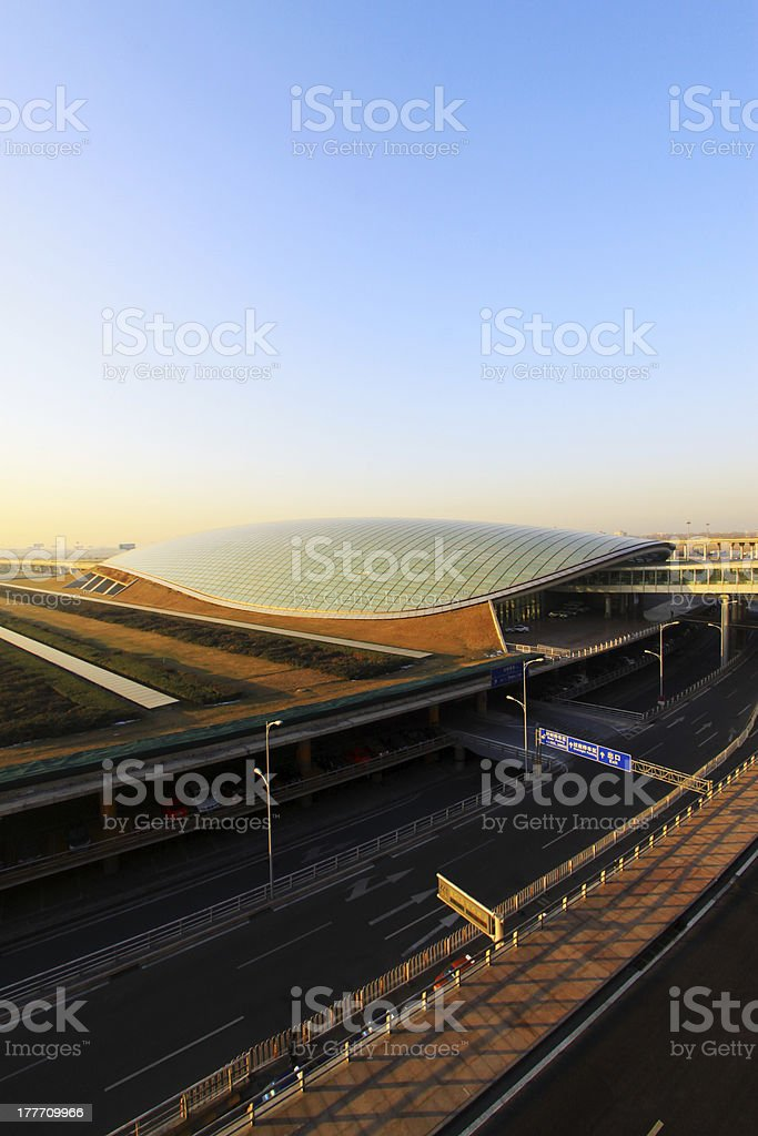 scene of T3 airport building parking appearance in beijing stock photo