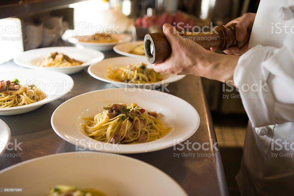 Scene of the Italian restaurant stock photo