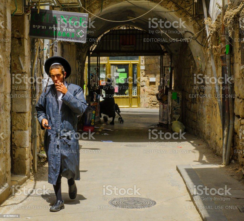 Scene of the ultra-orthodox neighborhood Mea Shearim, Jerusalem stock photo