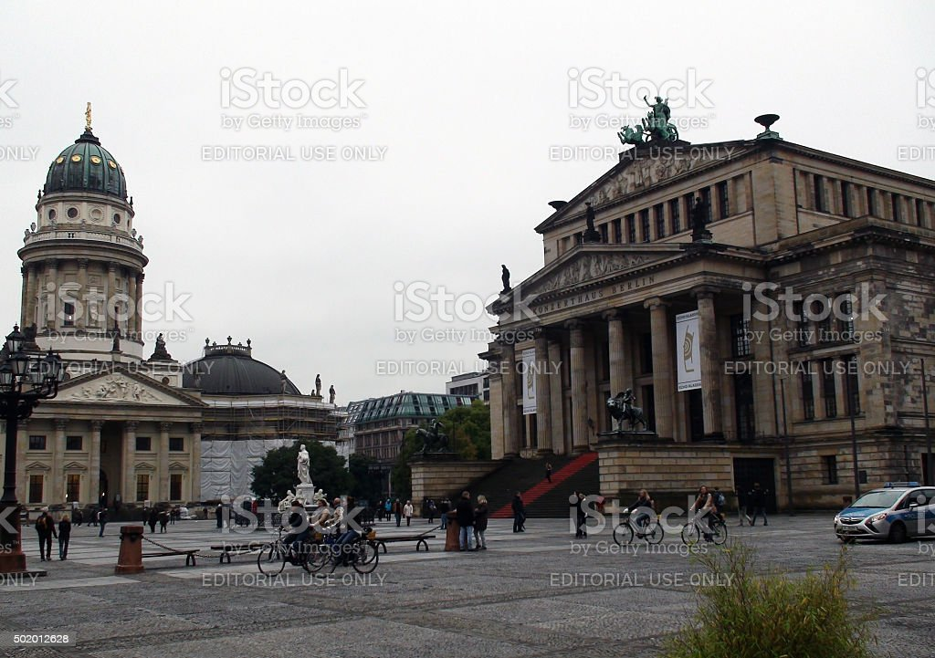 Scene Of Tourist,Konzerthaus And German Church Situated At Gendarmenmarkt.Berlin.Germany.Europe stock photo