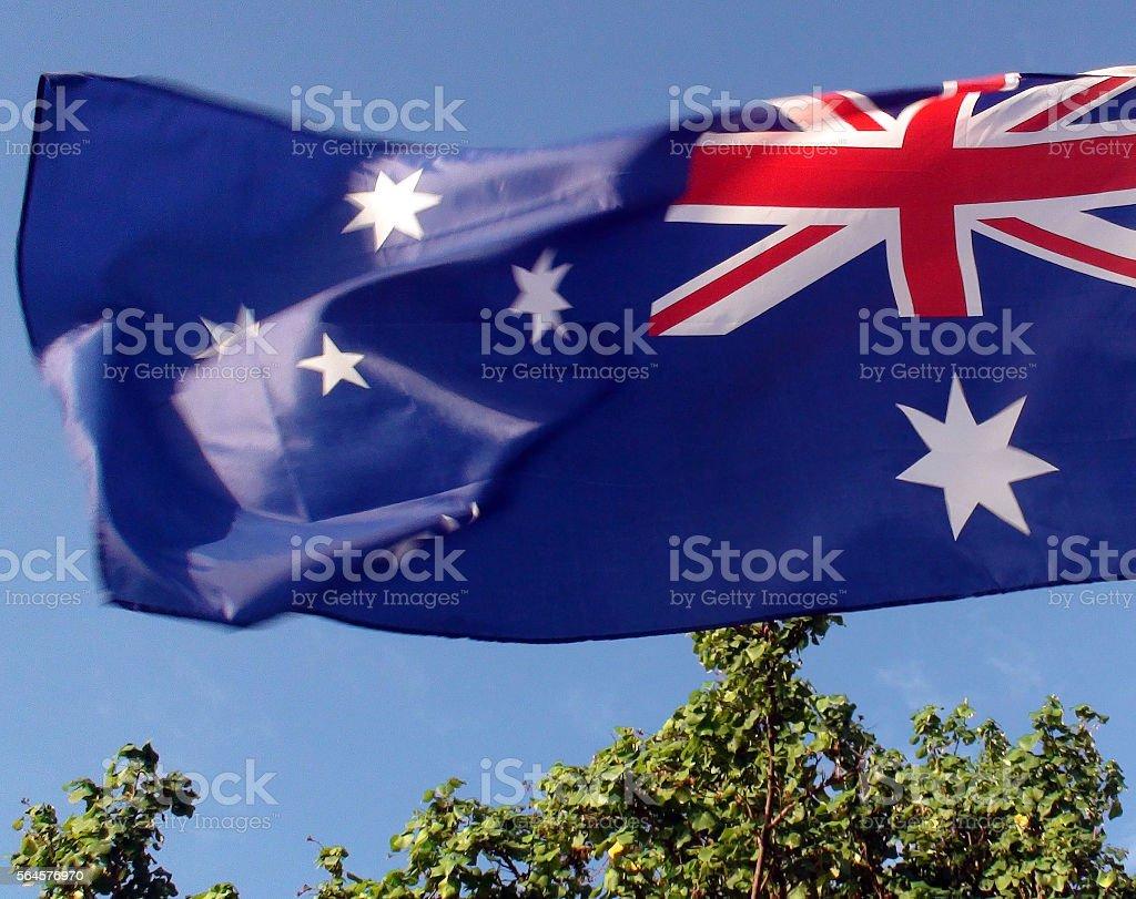 Scene Of Tree,Sky And  Australian Flag stock photo