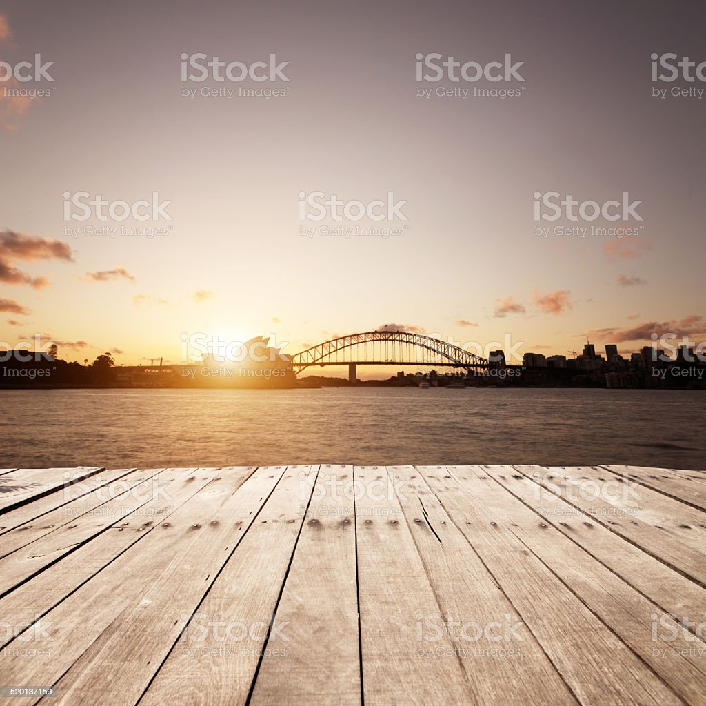 scene of wooden board and sydney landmark stock photo