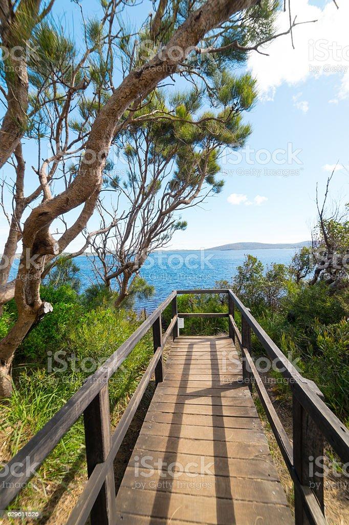 Scene view on Coalmine Beach , Walpole ,Australia . stock photo