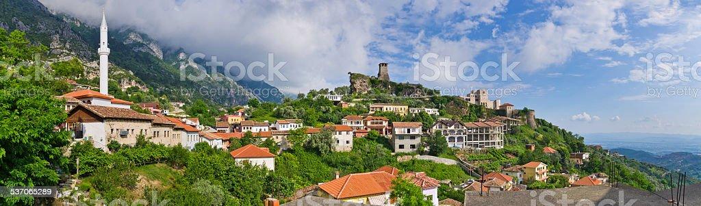 Scene with Kruja castle near Tirana, Albania stock photo
