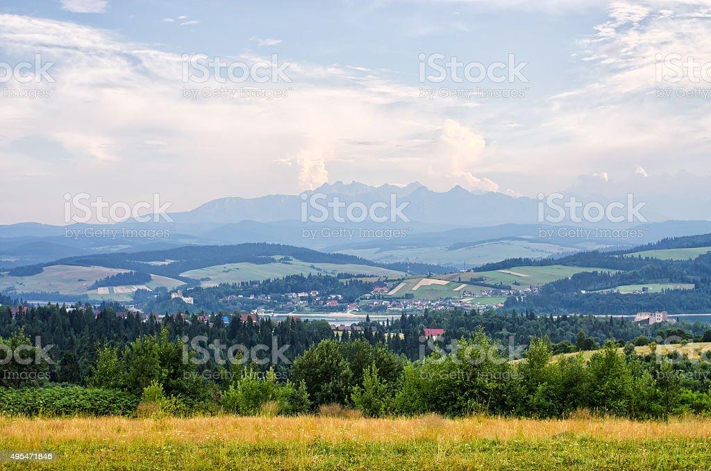 Scene with Tatra mountains - Niedzica, Poland stock photo