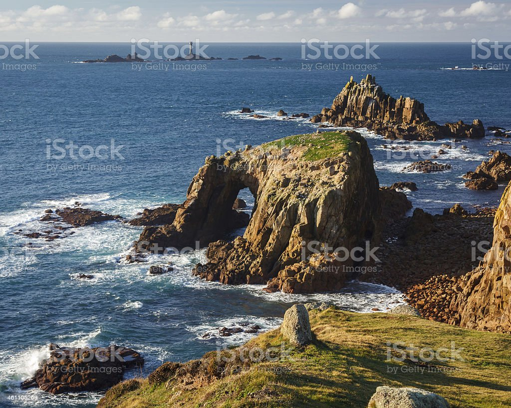 Scenery at Land End Cornwall England stock photo