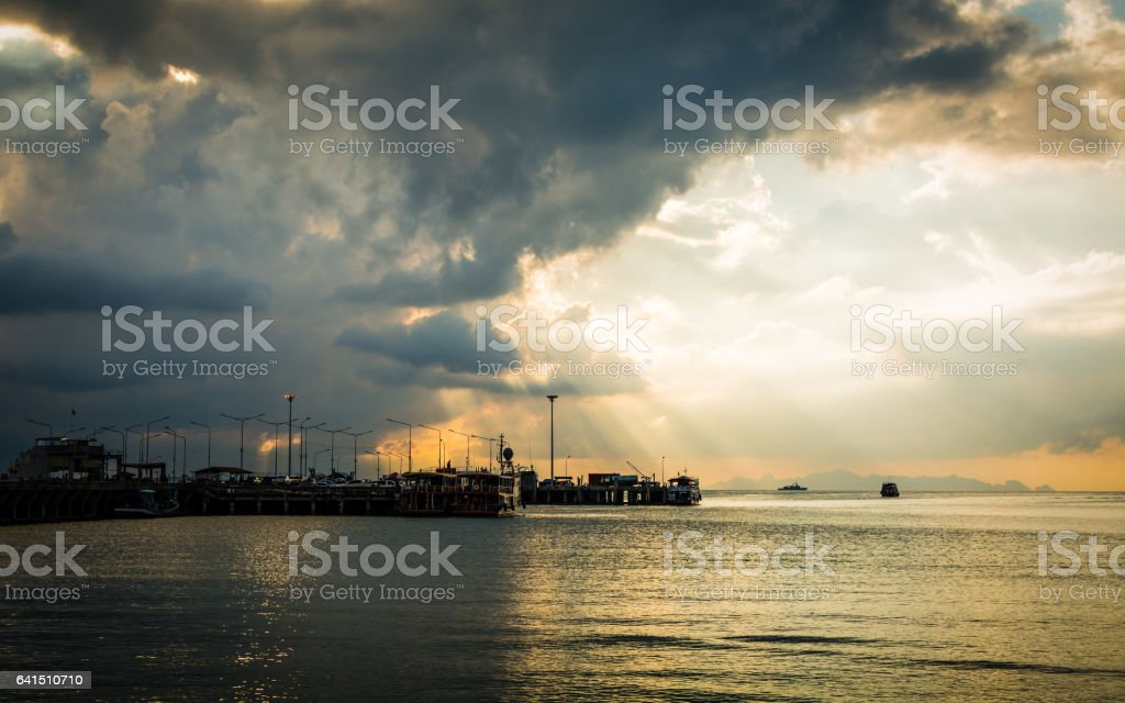 Scenery at seaport in Koh Samui, Thailand stock photo