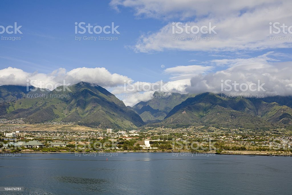 Scenery from coast of Maui, Hawaii with mountains stock photo