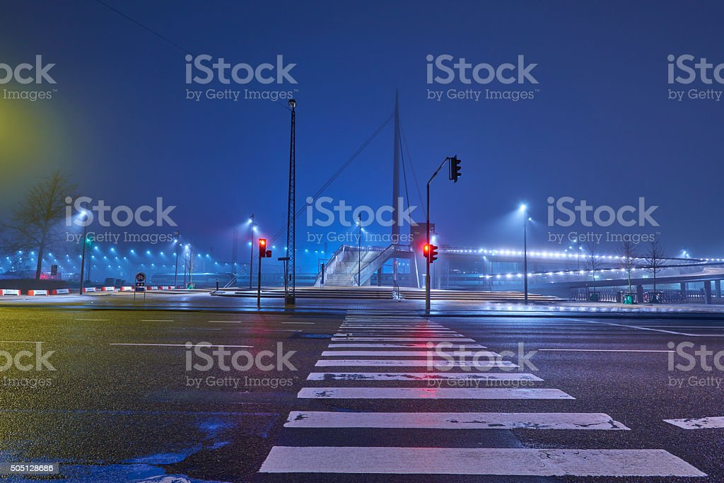 Scenery from Odense city a foggy night in january stock photo