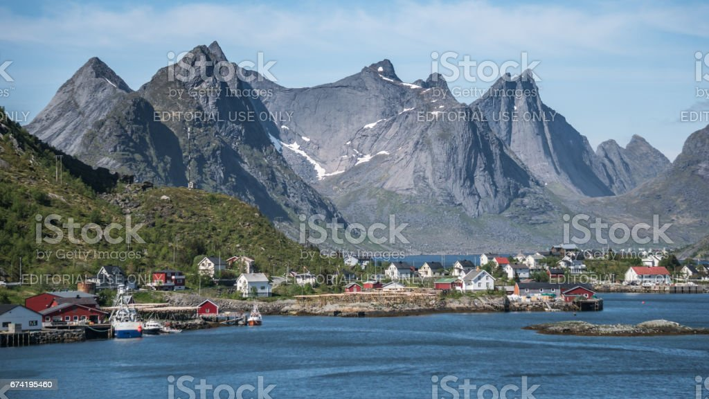 Scenery from Reine, a famous fishing village in Norway stock photo