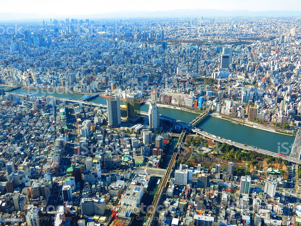 Scenery from the sky around the Sumida River stock photo