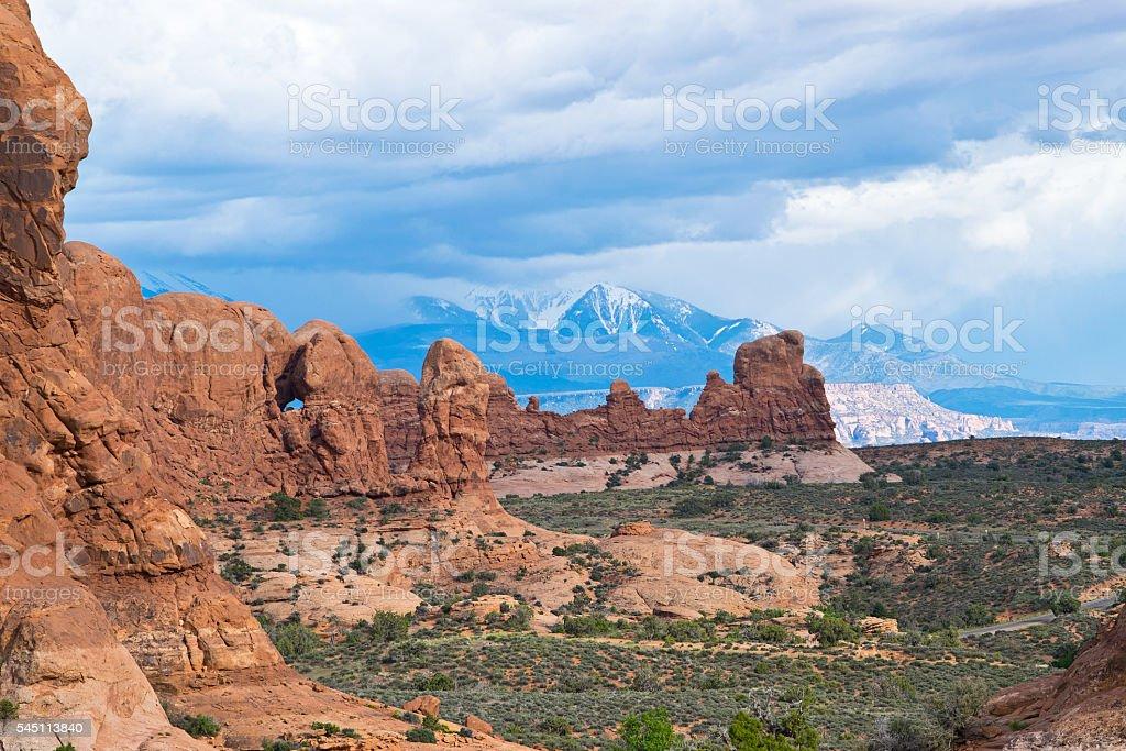 Scenery in Arches National Park in Utah stock photo
