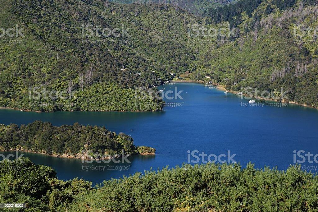 Scenery in the Marlborough Sounds, Onahau Bay stock photo