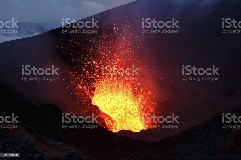 Scenery night eruption volcano on Kamchatka Peninsula. Russian Far East stock photo