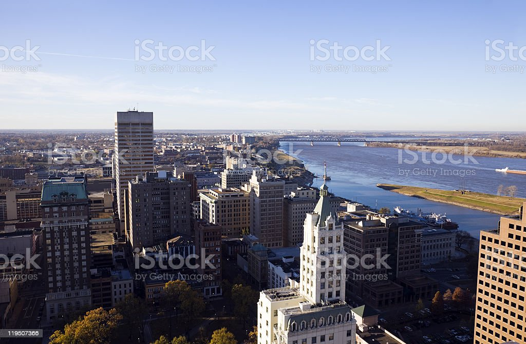 Scenery of above of the Aerial Memphis stock photo