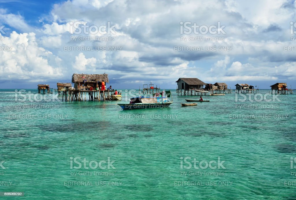 Scenery of Bajau Laut floating village in Semporna, Sabah Borneo, Malaysia. stock photo
