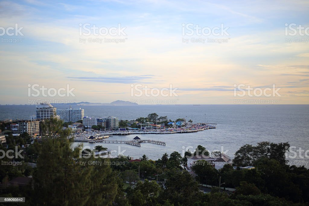 scenery of Bang Saen beach stock photo