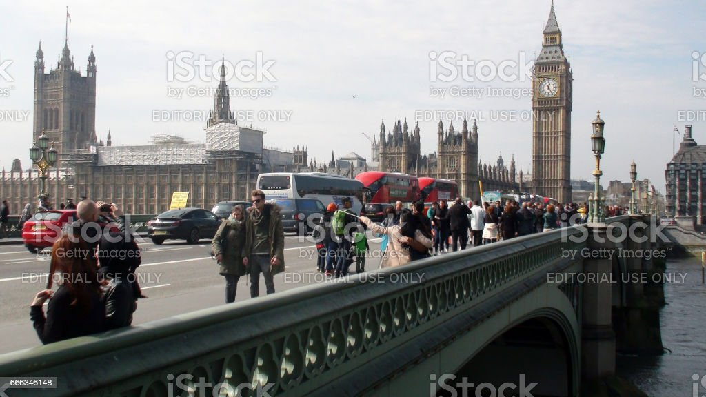 Scenery Of Big Ben,Palace Of Westminster,Land Vehicle,People At Westminster.London.England stock photo